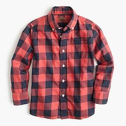 Boys' Secret Wash shirt in heather buffalo check