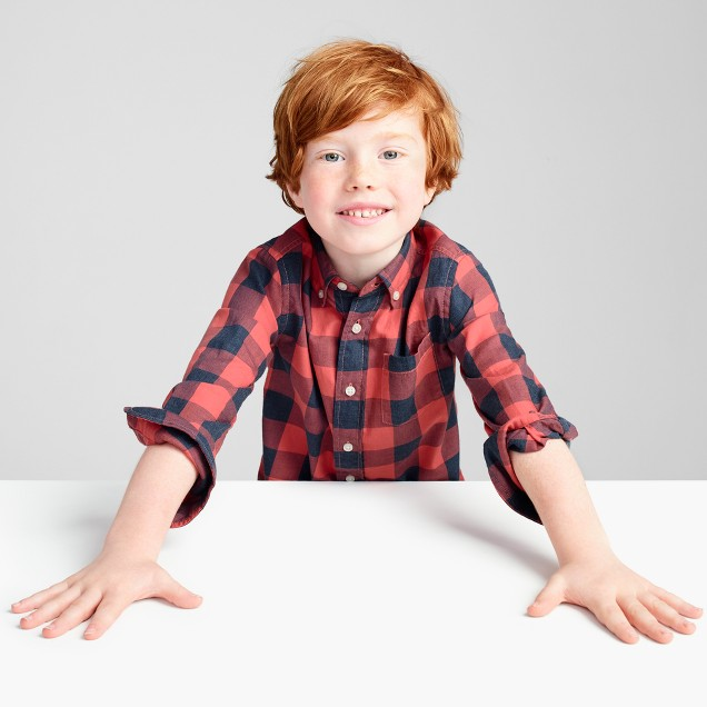 Kids' Secret Wash shirt in heather buffalo check