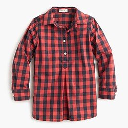 Girls' red buffalo check shirt