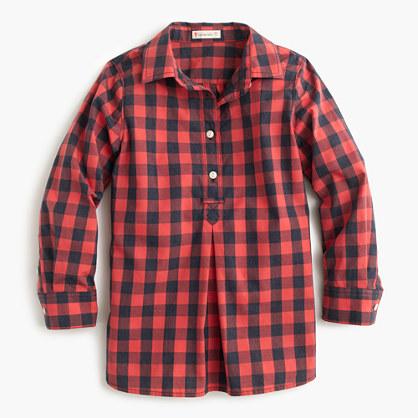 Girls' red buffalo check shirt