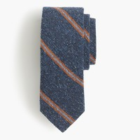 English silk tweed tie in orange stripe