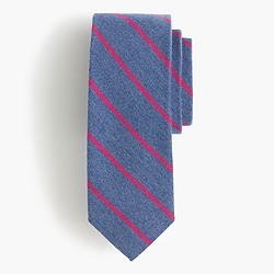 English wool-silk tie in narrow stripe