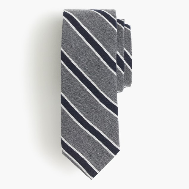 English wool-silk tie in heritage stripe