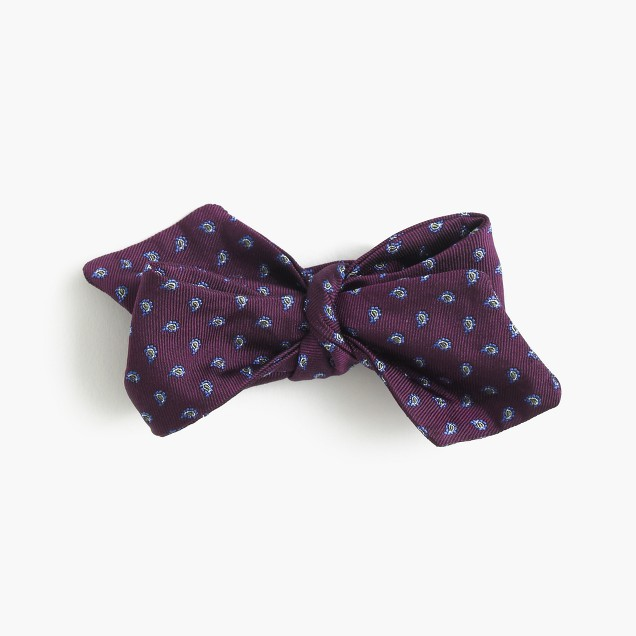 English silk bow tie in micro paisley
