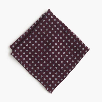 English wool-silk pocket square in dot
