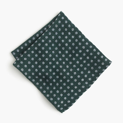 English wool-silk pocket square in dot