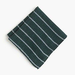English wool-silk pocket square in stripe