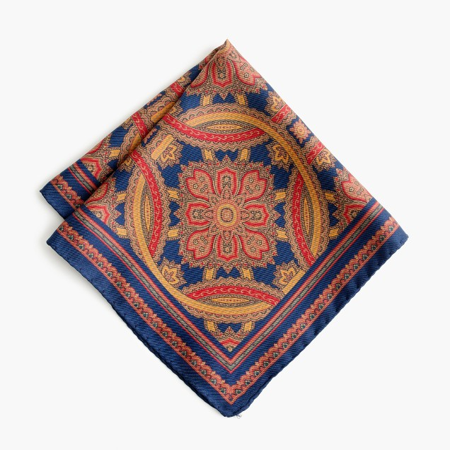 English wool pocket square in paisley print