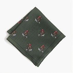English wool-silk pocket square in sporting print