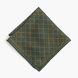 English wool-silk pocket square in vine print