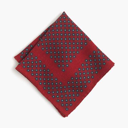 English wool pocket square in foulard