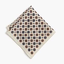 English wool pocket square in medallion print