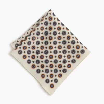 English wool pocket square in medallion print