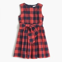 Girls' tie-front dress in red buffalo check
