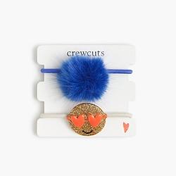Girls' pom-pom critter hair ties
