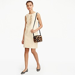 Collection leather sheath dress with ruffles
