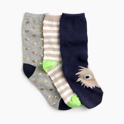 Girls' trouser socks three-pack