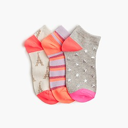 Girls' fall ankle socks three-pack