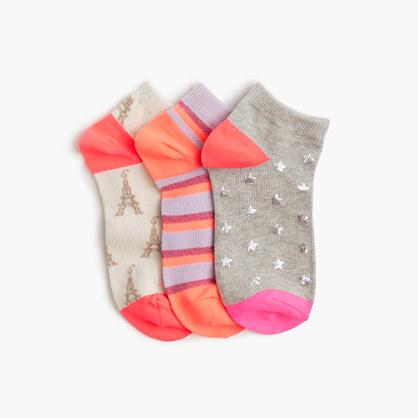 Girls' fall ankle socks three-pack