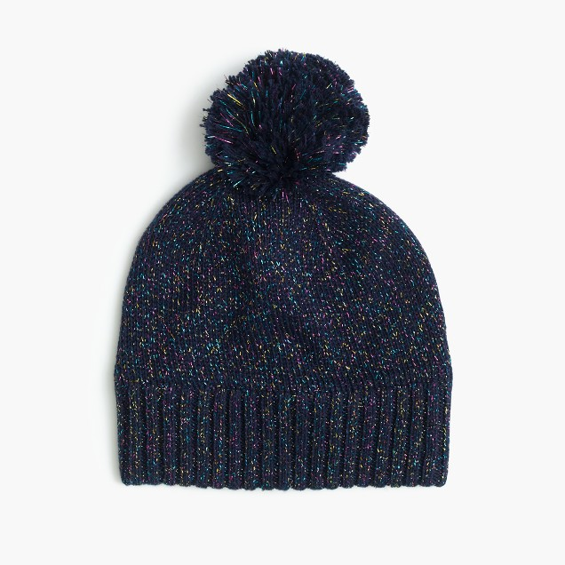 Girls' speckled cotton beanie hat
