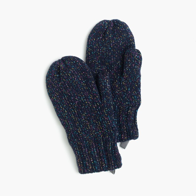 Girls' speckled cotton mittens