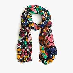 Scarf in colorful brushstroke print