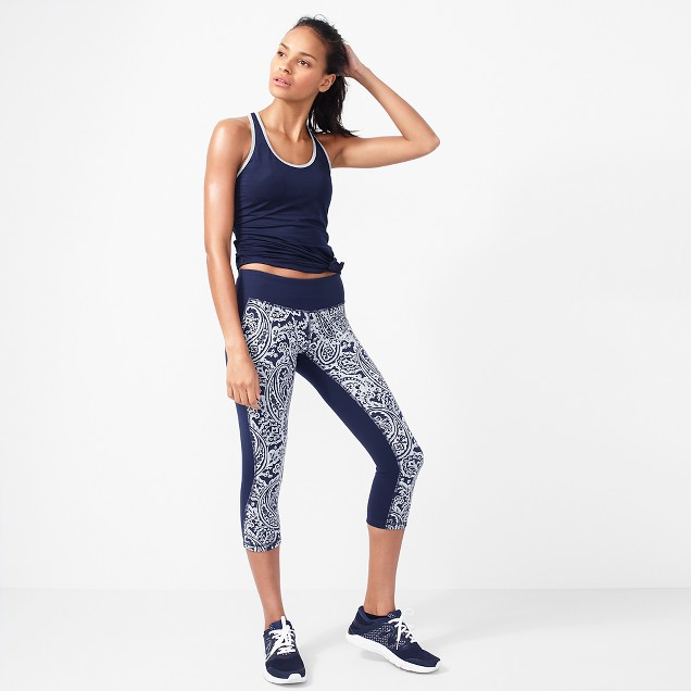 New Balance® for J.Crew performance capri leggings in colorblock paisley