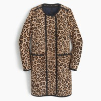 Collection cocoon coat in leopard calf hair