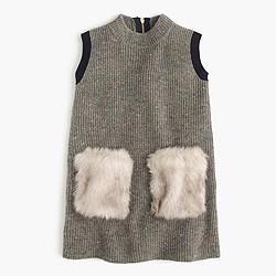 Girls' faux-fur pocket sweater-dress