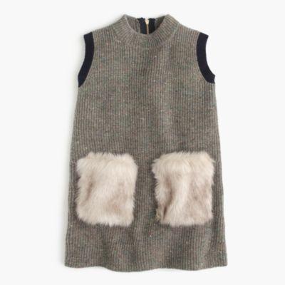 Girls' Faux-Fur Pocket Sweater-Dress : Girls' Dresses | J.Crew