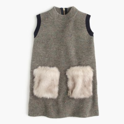 Girls&-39- Faux-Fur Pocket Sweater-Dress : Girls&-39- Dresses - J.Crew