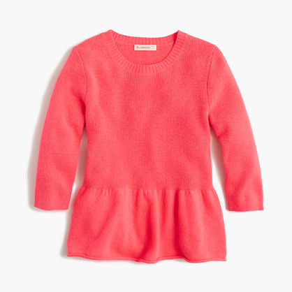 Girls' ruffle-hem popover sweater
