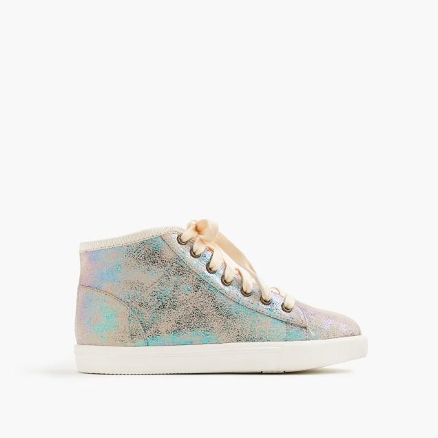 Girls' iridescent high-top sneakers