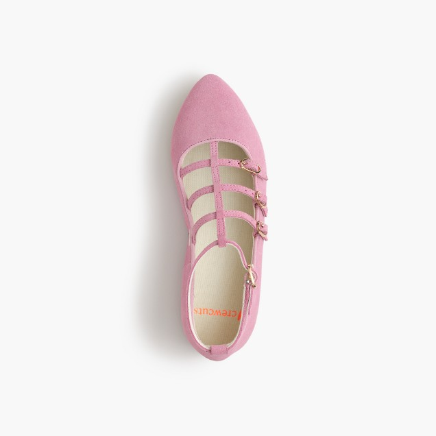 Girls' multistrap ballet flats in suede