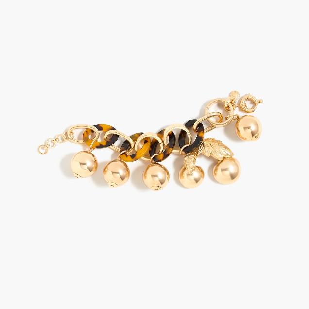 Tortoise link bracelet with cherries
