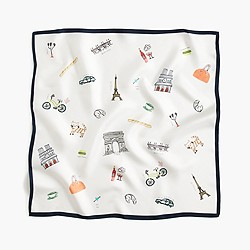 "Italian silk square scarf in ""Paris"" print"