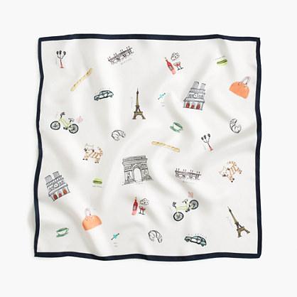 """Italian silk square scarf in """"Paris"""" print"""