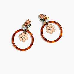 Floral tortoise hoop earrings