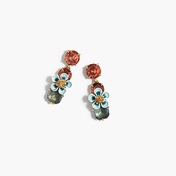 Stacked floral crystal earrings