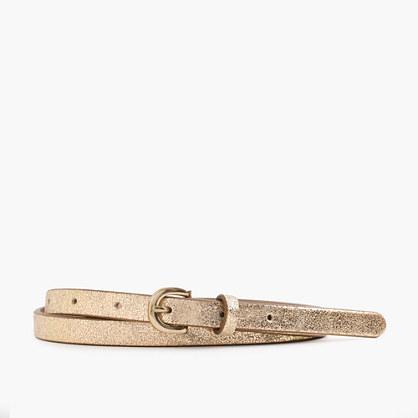 Skinny metallic Italian leather belt