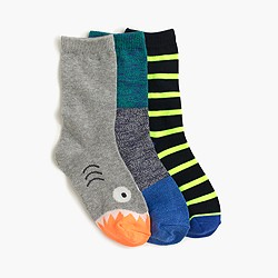 Boys' shark-striped socks three-pack
