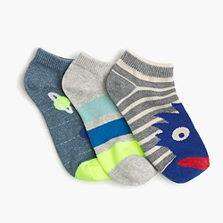 Boys' monster-striped socks three-pack