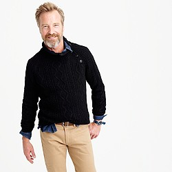 Wallace & Barnes button-shoulder cotton sweater in black indigo