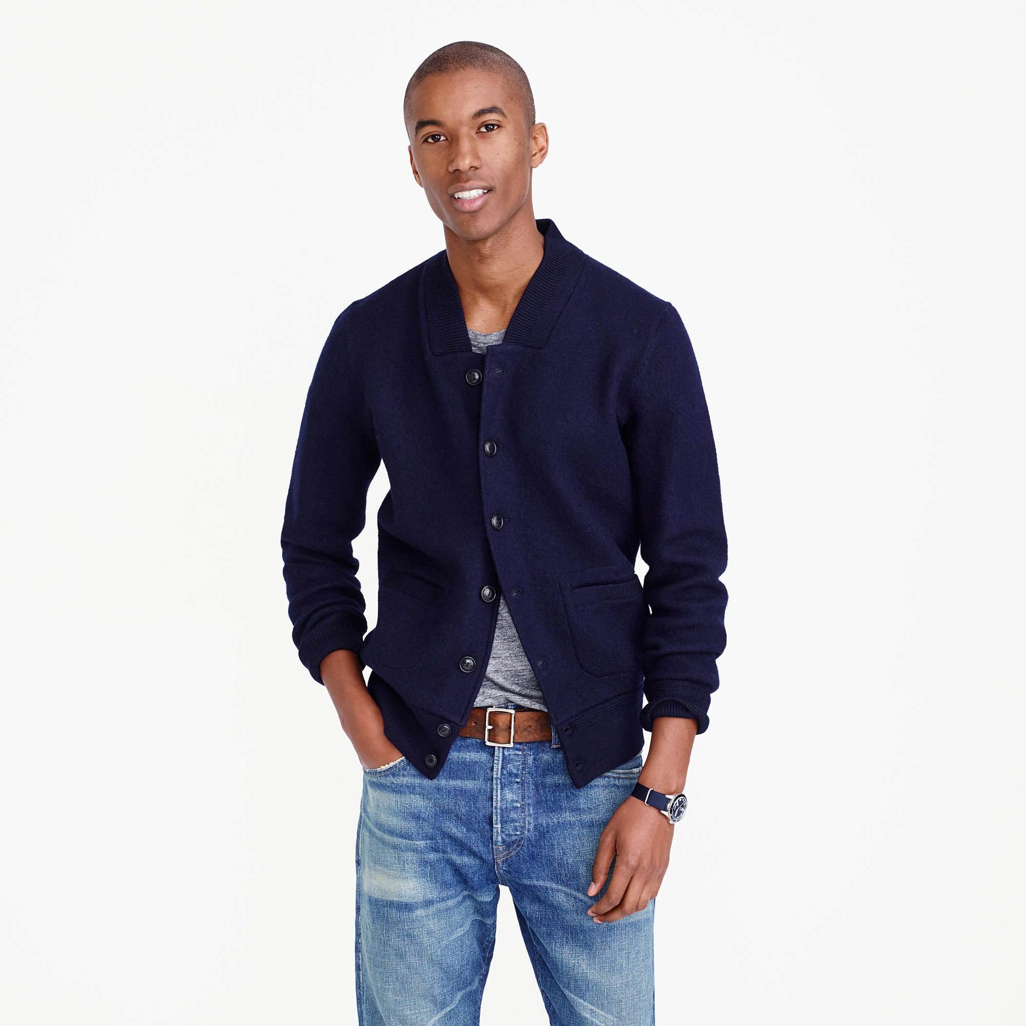 Wallace &amp Barnes Boiled Wool Bomber Jacket : Men&39s Sweaters | J.Crew