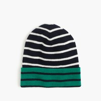 Boys' reversible striped beanie hat