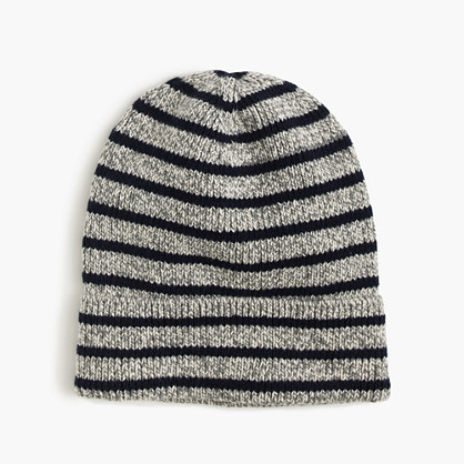 Boys' striped cotton beanie hat