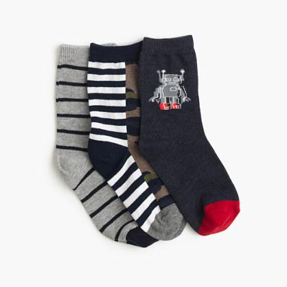 Boys' camo-striped socks three-pack