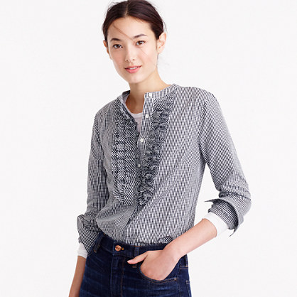 Collection Thomas Mason® for J.Crew gingham ruffle-front shirt