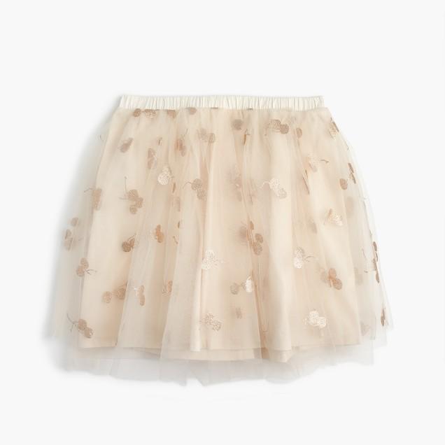 Girls' tulle skirt in glitter cherry print