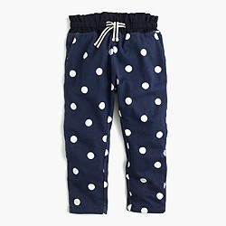 Girls' polka-dot-lined sweatpant